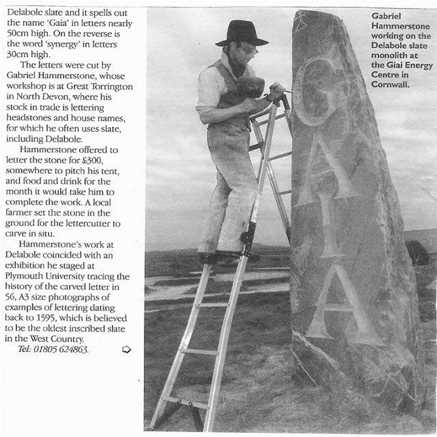 Gabriel Hummerstone working on te Delabole Slate monolith at the Gaia Energy Centre in Cornwall
